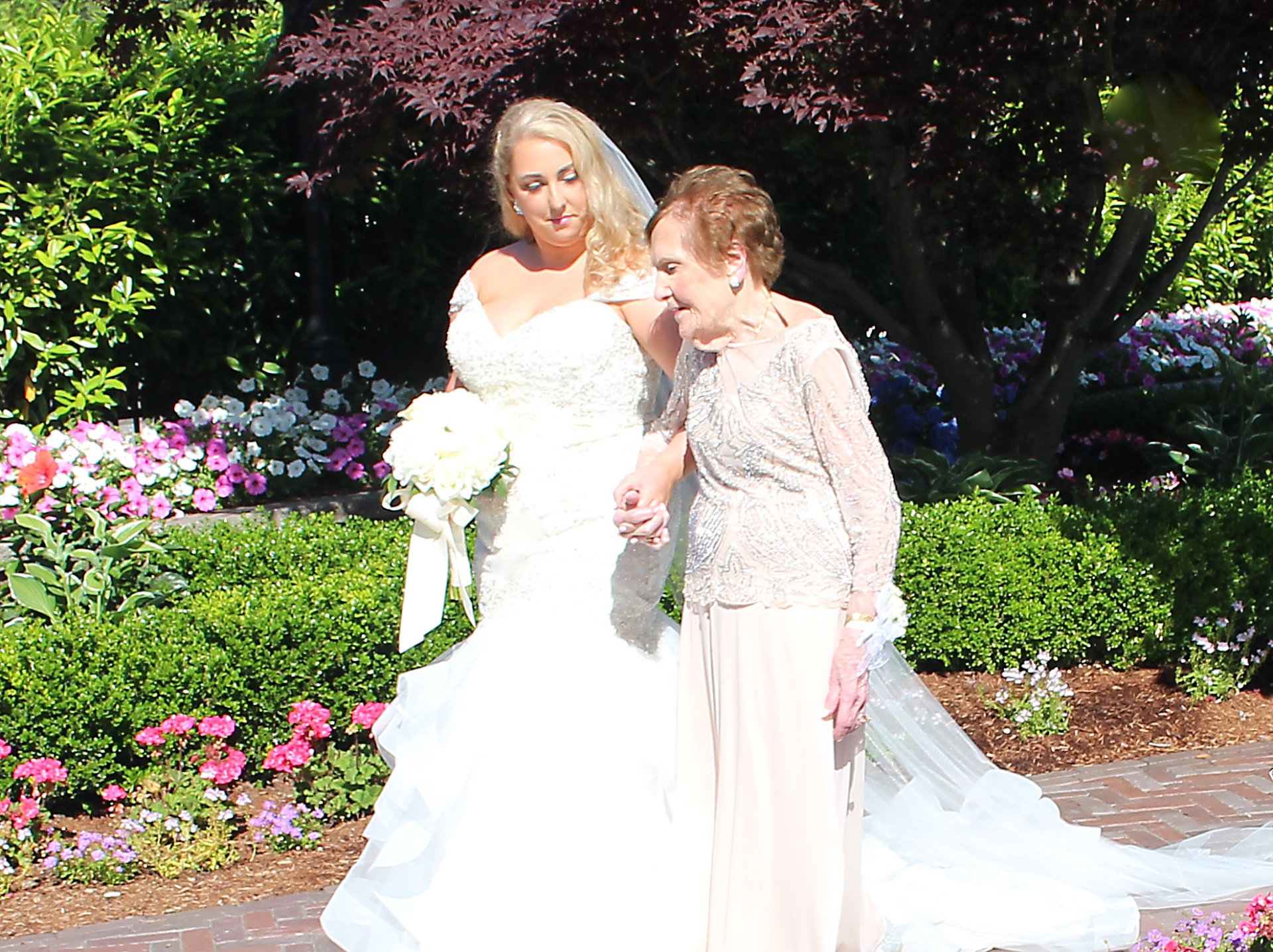 Bride and Grandmother walking down the aisle at The Mill Lakeside Manor, Spring Lake NJ